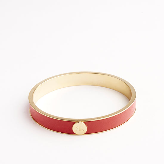 Inlay bangle with red leather