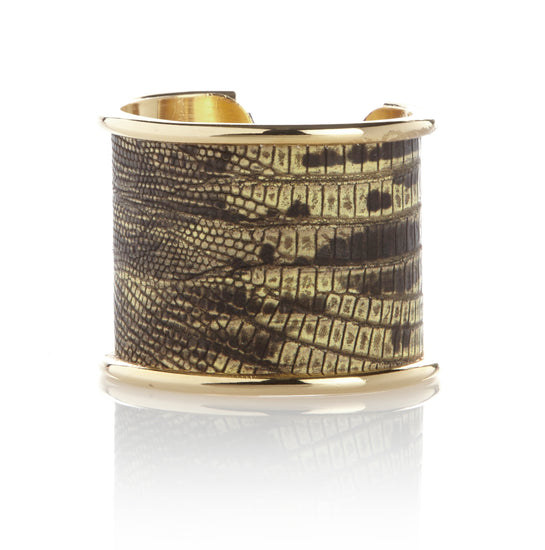 5 cm brass inlay cuff in lemon lizard