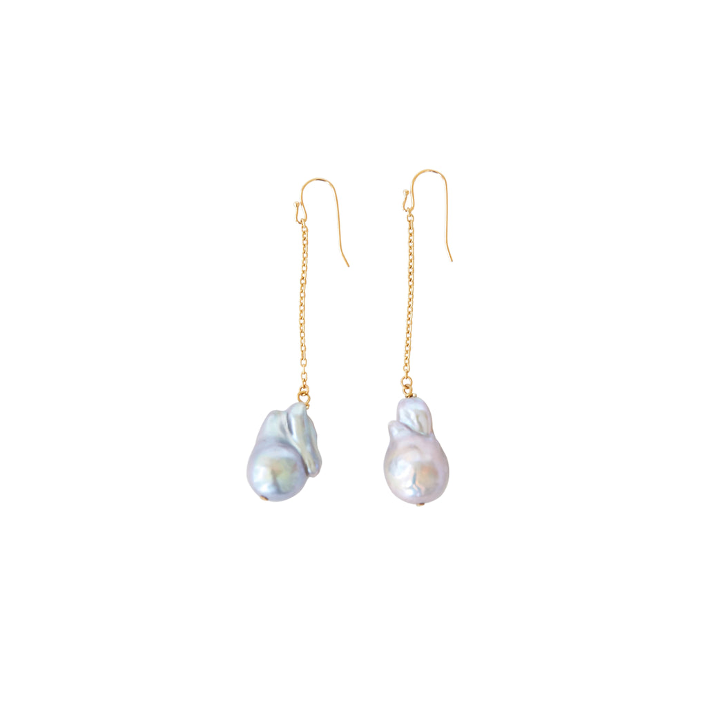 Baroque Pearl Chain Earrings in Silver