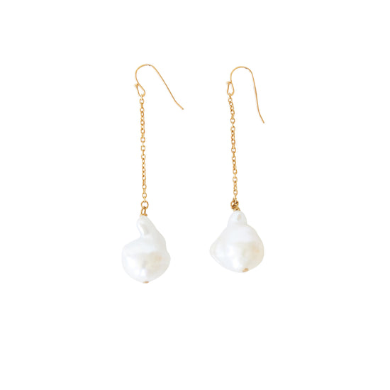 Baroque Pearl Chain Earrings