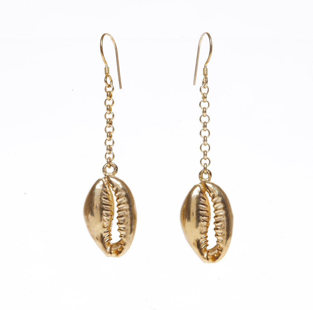 Cold cast shell drop earrings in gold