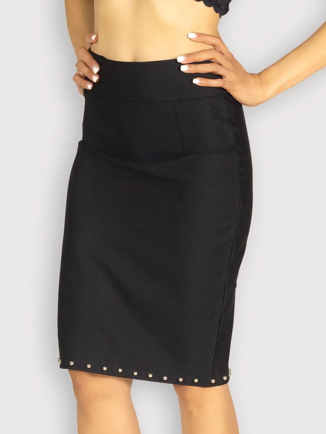 885193b554bf Black High Waisted Stretch Pencil Skirt with Beads   Fash Official