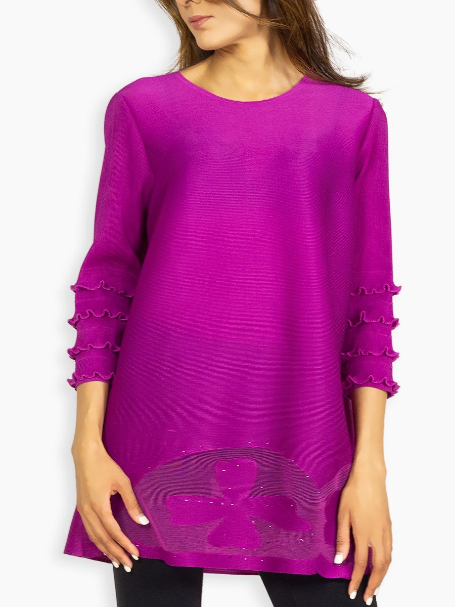 good selling order great deals 2017 Shocking Pink Slinky Top with Frill Sleeves and Sequence Work ...
