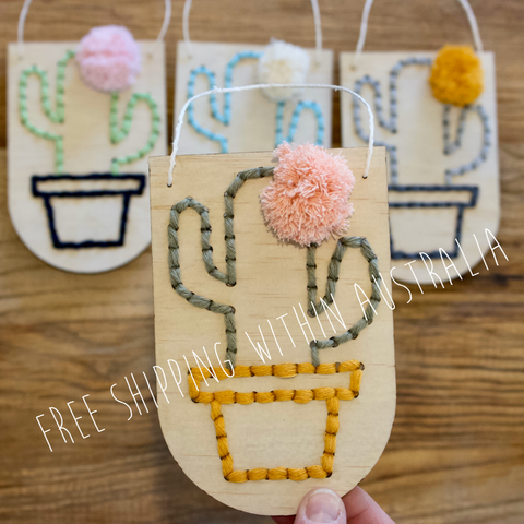 Cactus Embroidery Banner DIY Kit