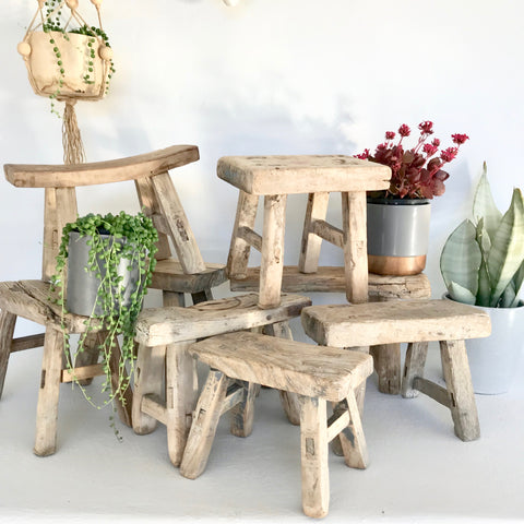 Vintage Mini Timber Elm Stool