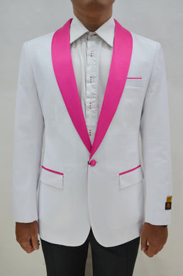 Dinner Jacket - White/Fuschia