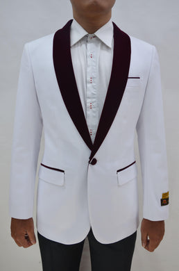 Dinner Jacket - White/Burgundy