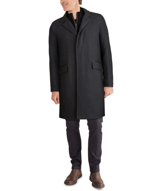 Men's Layered Look Classic-Fit Twill Topcoat with Faux-Leather Trim - Charcol