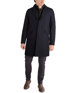 Men's Layered Look Classic-Fit Twill Topcoat with Faux-Leather Trim - Navy