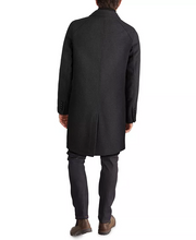 Load image into Gallery viewer, Men's Layered Look Classic-Fit Twill Topcoat with Faux-Leather Trim - Charcol