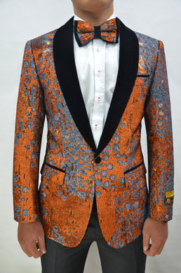 Paisley-300 Rust/Black Velvet - Mens Wholesale Blazers