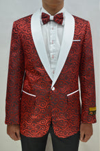 Load image into Gallery viewer, Red Paisley Tuxedo Jacket With Matching Bowtie