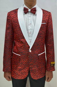 Red Paisley Tuxedo Jacket With Matching Bowtie