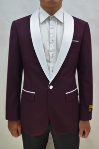 Dinner Jacket - Burgundy/White - Mens Wholesale Blazers - AlbertoNardoniStore