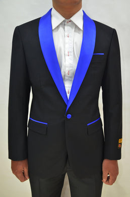 Dinner Jacket - Black/Royal Blue