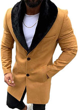 Load image into Gallery viewer, Lcucyes Mens Faux Fur Collar Jackets Winter Long Woolen Coat