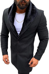Lcucyes Mens Faux Fur Collar Jackets Winter Long Woolen Coat