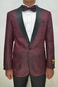 Paisley-300 Burgundy/Black