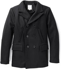 Load image into Gallery viewer, Billy Reid Men's Wool Double Breasted Bond Peacoat with Leather Details - Black