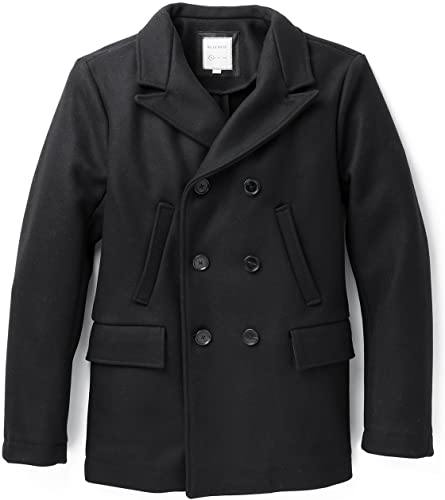 Billy Reid Men's Wool Double Breasted Bond Peacoat with Leather Details - Black