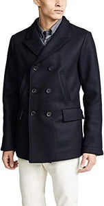 Billy Reid Men's Wool Double Breasted Bond Peacoat with Leather Details - Navy