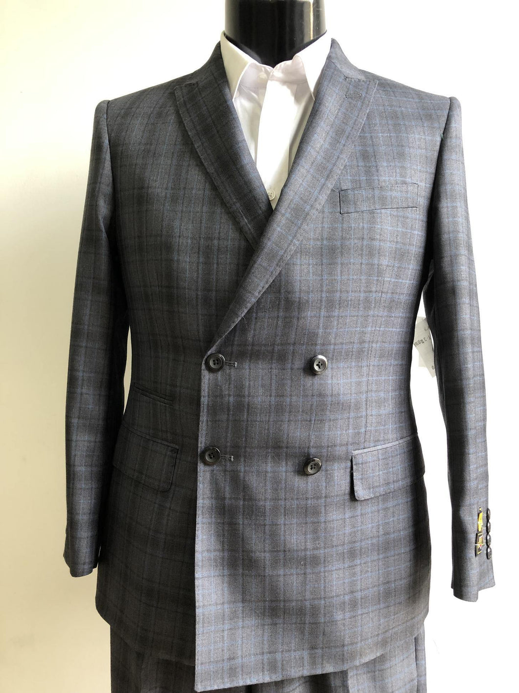 DB-Slim Charcoal Plaid - Wholesale Mens Suits - Wholesale Suits