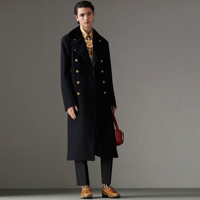 Velvet Collar Doeskin Wool Military Coat In Dark Navy - AlbertoNardoniStore