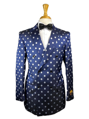 DB-Blazer Navy/White Dots - Mens Wholesale Suit - AlbertoNardoniStore