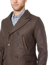 Load image into Gallery viewer, Billy Reid Men's Wool Double Breasted Bond Peacoat with Leather Details - Brown - AlbertoNardoniStore