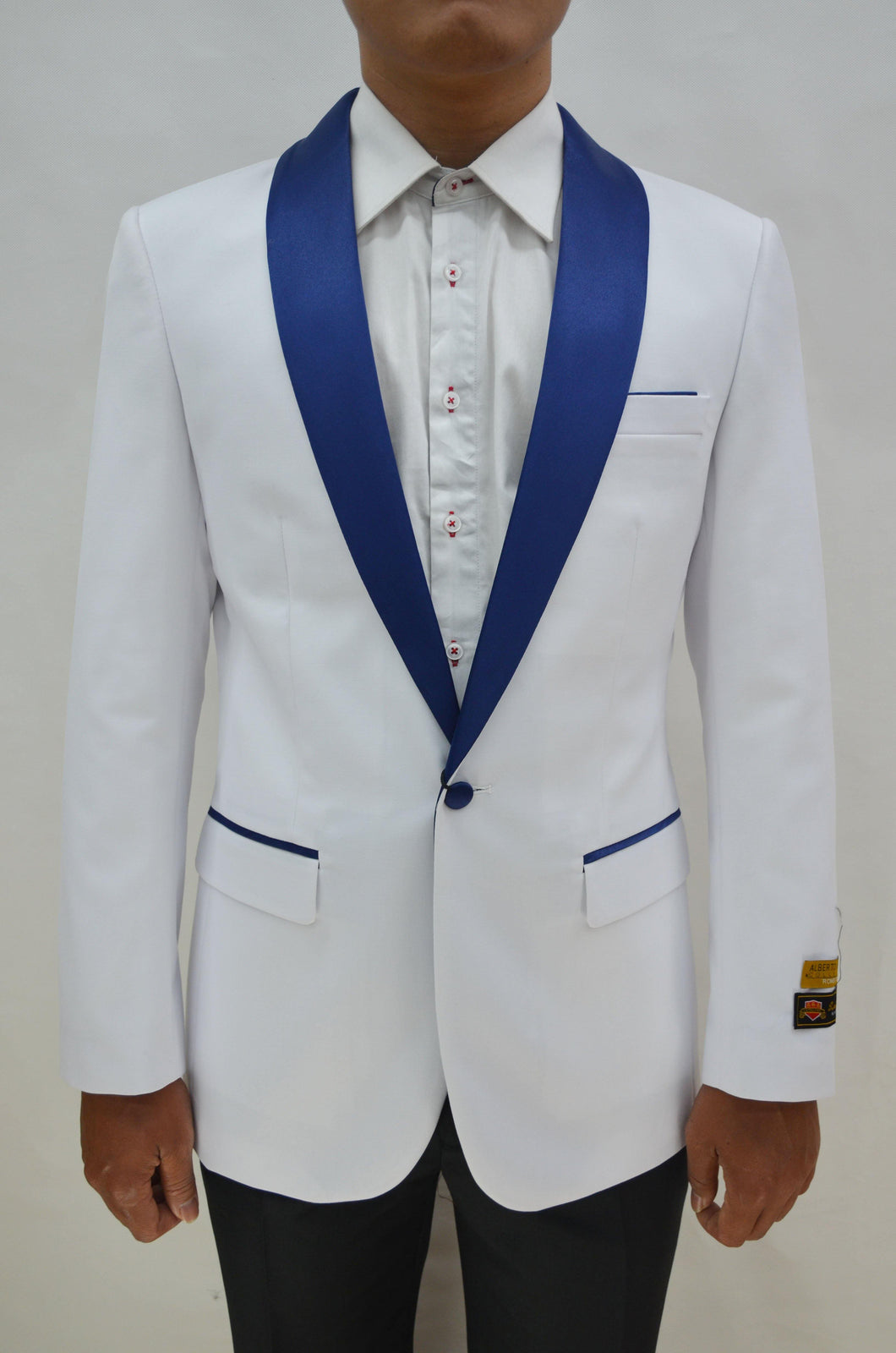 Dinner Jacket - White/Navy - Mens Wholesale Blazers - AlbertoNardoniStore