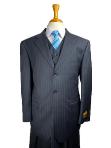 Suits For Big Guys - Suits For Big men Navy-Pinstripe