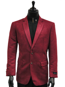 Men Cranberry Wine Ultra Faux Suede 2 Button Dress Casual Work Blazer