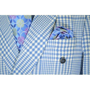 Neo-Houndstooth Light Blue / White Cotton Double Breasted Classic Fit Suit