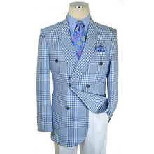 Load image into Gallery viewer, Light Blue / White Neo-Houndstooth Cotton Double Breasted Classic Fit Suit | Suits Beverly Hills - AlbertoNardoniStore