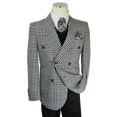 Neo-Houndstooth Black / White Cotton Double Breasted Classic Fit Suit