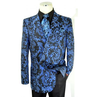 Blue / Black Woven Paisley Cotton Blend Double Breasted Classic Fit Suit - AlbertoNardoniStore