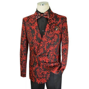 Red / Black Woven Paisley Cotton Blend Double Breasted Classic Fit Suit - AlbertoNardoniStore