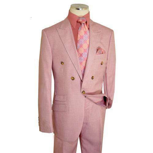 Solid Light Pink Single Button Double Breasted Classic Fit Suit - AlbertoNardoniStore