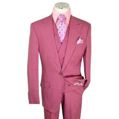 Solid Raspberry Pink Single Button Vested Classic Fit Suit