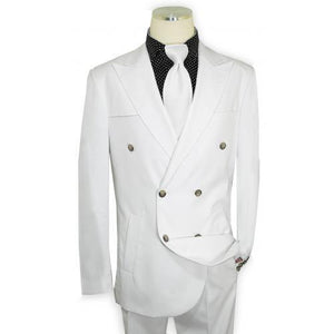 Solid White Hand-Woven Double Breasted Classic Fit Suit