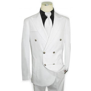 Solid White Hand-Woven Double Breasted Classic Fit Suit | Suits Beverly Hills