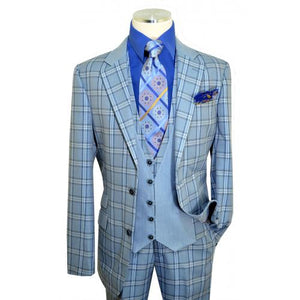 Slate Blue / Navy / White Windowpane Plaid Vested Classic Fit Suit | Suits Beverly Hills
