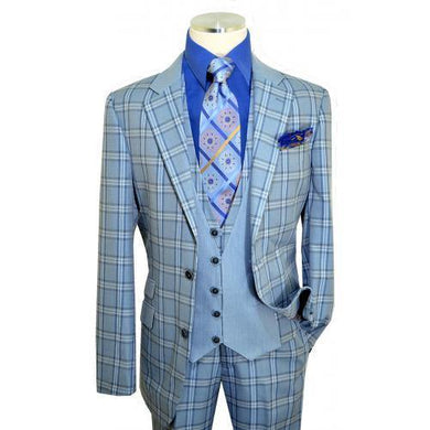 Slate Blue / Navy / White Windowpane Plaid Vested Classic Fit Suit