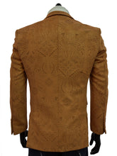 Load image into Gallery viewer, Men Blu Martini Cognac Ultra Micro Faux Suede Laser Cut Pattern Blazer Sportcoat