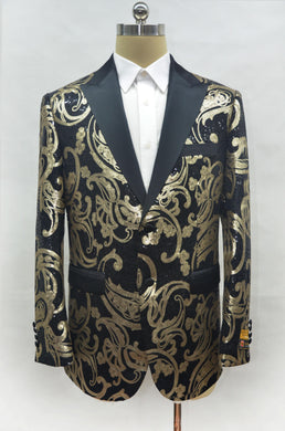Fashion-7# Black-Gold - Mens Wholesale Blazers