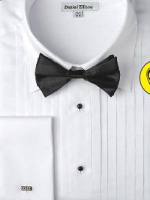 Mens White Formal French Cuff Tuxedo Shirt With Bow Tie - Wholesale Tuxedo Shirt