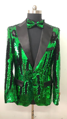 Sequin Blazer - Black Green