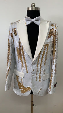 Sequin Blazer - White Gold
