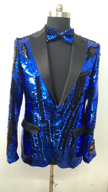 Sequin Blazer - Black Blue