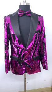Sequin Blazer - Black Purple